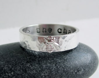Sterling Silver Bee Ring - Personalized Ring