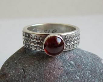 Sterling Silver Medieval Patterned Gemstone Ring - Personalized Ring