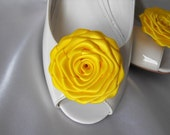 Handmade rose shoe clips in bright yellow