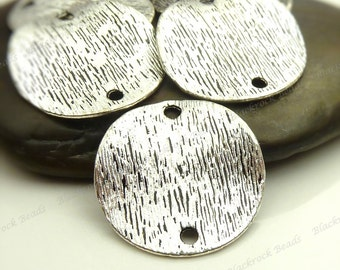 Bulk 30 Wavy Round Etched Connectors Double Sided 18mm - Antique Silver Tone Metal - 2 Loop Links, Textured - BC25