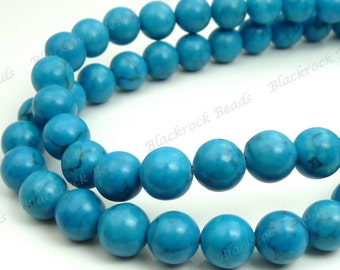 6mm Blue Magnesite Matrix Round Gemstone Beads - 16 Inch Strand - BG19