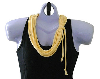 FABRIC NECKLACE, Butter Yellow, Upcycled T-shirt Fabric, Handmade, Ready to Ship