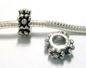 3 Beads - Flower Rhinestone Silver European Bead Charm E1239