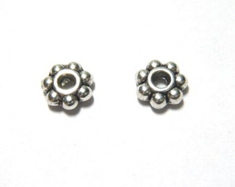 250 PCS - 5MM Daisy Spacer Bead Finding Silver C0692