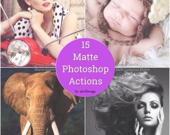 15 Matte Photoshop Actions INSTANT DOWNLOAD The Magazine Editorial Look for your Wedding, Portrait, Nature, Fashion, Product Photographs