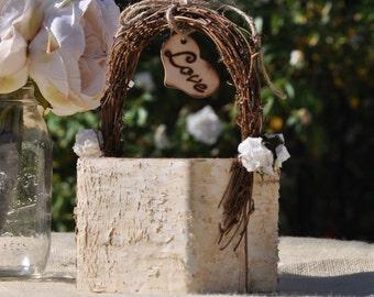 Personalized Flower Girl Basket~ Shabby Chic ~ Rustic ~ Woodland ~ Fairytale Wedding Wood/birch Bark