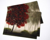 One Postcard Red Tree misty forest Small Print landscape Fine Art Painting size 4.25x5.5