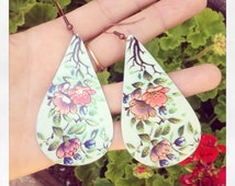 1971 Recycled Tin Earrings // 70's Flower Pattern // Upcycled Vintage