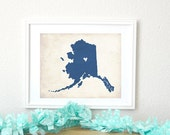 Alaska Love Personalized State Map Art 8x10 Print.