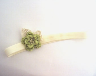 crochet Baby Flower Headband baby headband, cotton headband, soft, Baby girl headband, , photo prop, gift