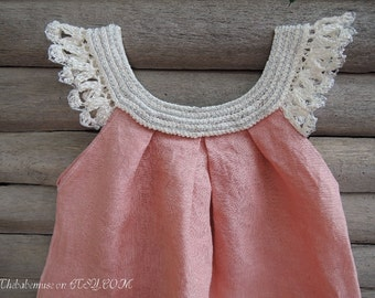 Pink  crochet baby dress exclusive design Thebabemuse hand-colored photo shoot flowergirl dress toddler baby size