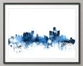 Detroit Skyline, Detroit Michigan Cityscape Art Print (1121)
