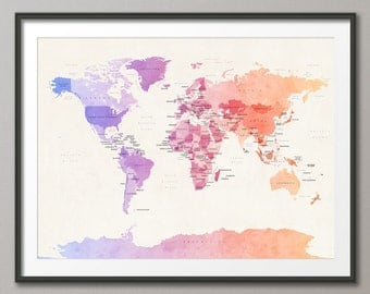 Political Map of the World Map, Art Print - 18x24up to 24x36 (582)