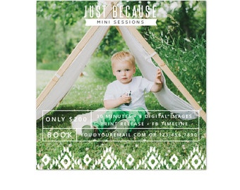 INSTANT DOWNLOAD -  Square photography mini session design - Photoshop template - E1072