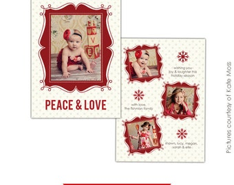 INSTANT DOWNLOAD  - Photoshop Holiday Card Template - Peace&Love - E167-Portrait