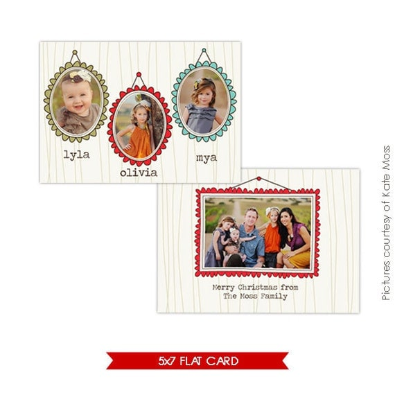 INSTANT DOWNLOAD - Photoshop Holiday Card Template - Portraits - E210