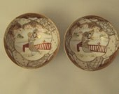 Noritake Morimura Nippon Pair Hand Painted Porcelain Small Footed Bowls Moriage Gold