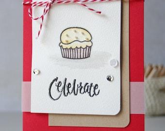 Happy Birthday Cupcake Card, Celebrate Card, Happy Birthday Card