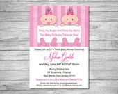 Set of 25 It's a Girl Baby Shower Invitations.