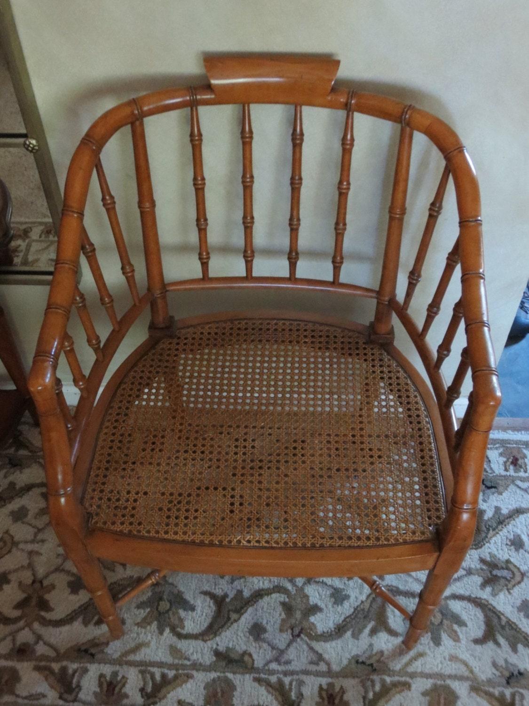 Century Faux Bamboo Barrel Chair