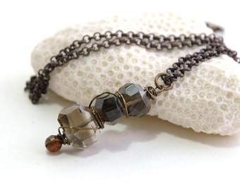 Smoky Quartz Necklace, Long necklace, Semiprecious, Brown gemstone, Natural Brass Jewelry