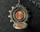 Cog Locket - Bicycle Pendant - Kinetic Jewelry