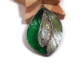 Stained Glass Pendant Jewelry Glass Leaf Jewelry Glass Necklace Glass and Metal Necklace Jewelry Handmade Pendant Jewelry Green Leaf Jewelry