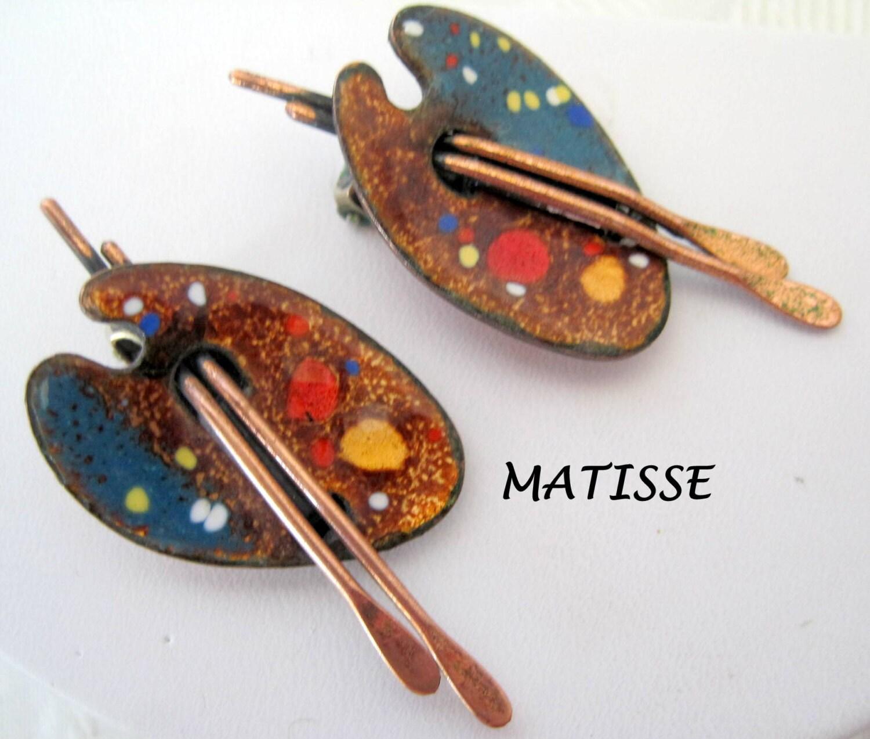 matisse renoir earrings copper artist palette