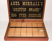 1930s Abel Morrall's Griffin Brand Egg Eyed Needles Pine Display Case Vintage Sewing Box Vintage Box Vintage Needlepoint Vintage Woodenware