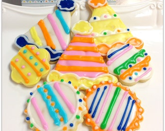 Birthday Party  Sugar Cookies Party Hat Celebration Decorated Cookie Favors