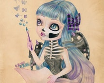 "Little Demons Of Inspiration LIMITED EDITION print signed numbered Simona Candini Art ""Bones And Poetry"" lowbrow pop surreal big eyes skull"