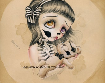 """Poor Teddy LIMITED EDITION print signed numbered Simona Candini Art """"Bones And Poetry"""" lowbrow pop surreal big eyes skull gothic"""