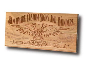 Custom Sign: Engraved Wooden Sign for Custom Logos and Images Man Cave Sign Motorcycle Sign Business Sign Cherry CI