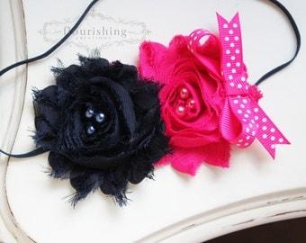 Navy and Hot Pink Chiffon flower headband, navy blue headbands, baby flower headbands, photography prop