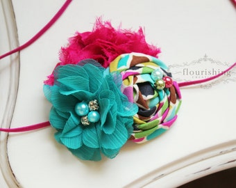 Teal and Hot Pink rosette headband, pink headbands, newborn headbands, flower headbands, rosette headbands, photography prop
