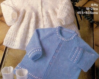 Baby Matinee Jacket 2 styles and Bootees  4 ply for Sizes 18 - 21 ins - Marriner 1911 - pdf of Vintage Knitting Patterns
