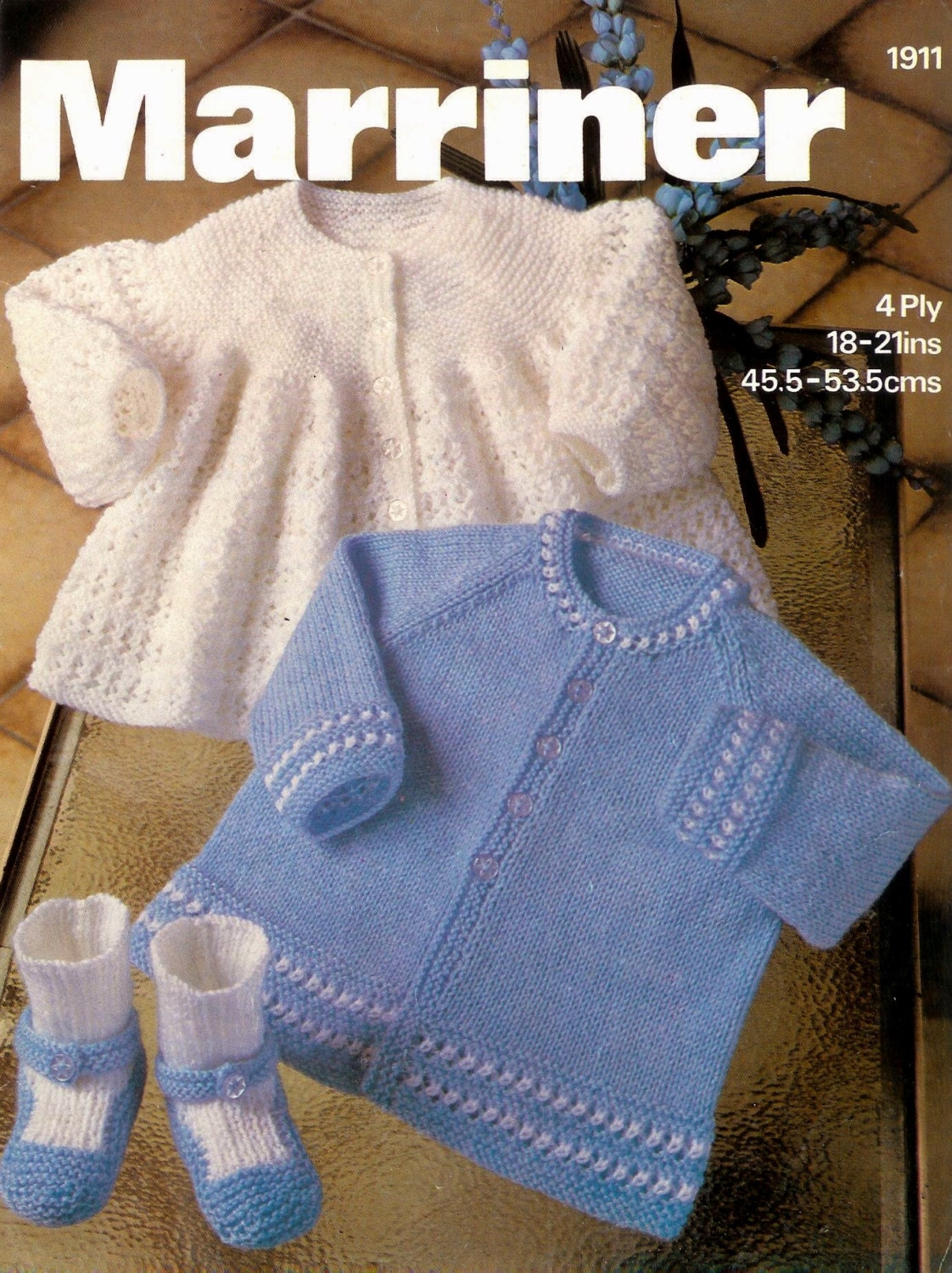 13a69cad4 Baby Matinee Jacket 2 styles and Bootees 4 ply for Sizes 18 - 21 ins ...