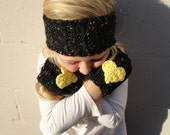 Girls Winter Set--Black with Multicolored Fleckes and Yellow Heart Fingerless Gloves & Ruffled Headband, Ages 4-8 Crocheted Glove/Earwarmer
