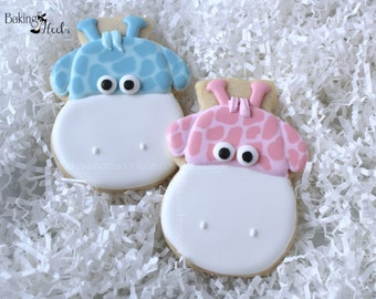 Baby Giraffe Decorated Cookies, Baby Shower Cookies, Baby Cookies, It's a girl, It's a boy, Decorated Cookies, Animal Cookies