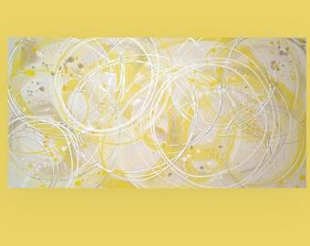 "Yellow Original Acrylic Abstract Painting Titled: Lemon Drop 24x48x1.5"" by Ora Birenbaum"