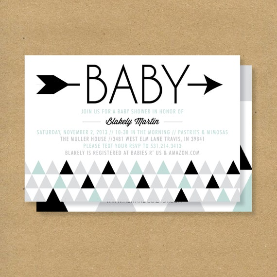 Baby Shower Invitation Triangles & Arrows Gender by HENANDCO