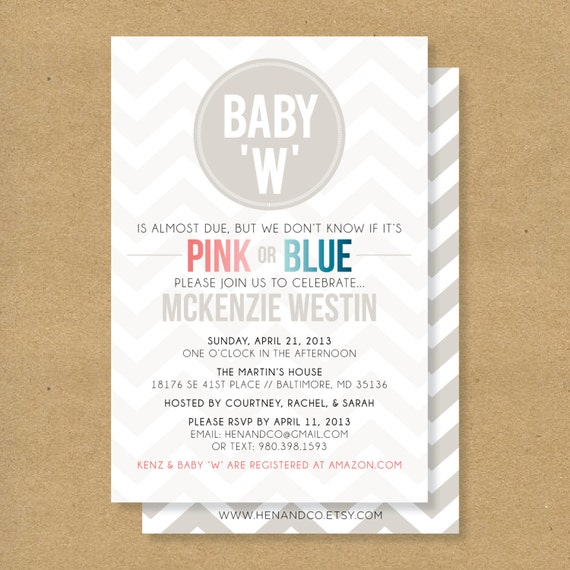 Baby Shower Invitation Gender Neutral Boy Or Girl By Henandco