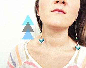 SALE Chevron Earring Collection - Pick Your Pair -  Shrink Plastic, Boho, Hippie, Geometric, Long, Chain, Wearable Art
