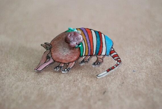 SALE Armadillo Tie Tack / Armadillo Brooch / Chevron / Rainbow Striped / Tan / Southwestern / Shrink Plastic / Wearable Art