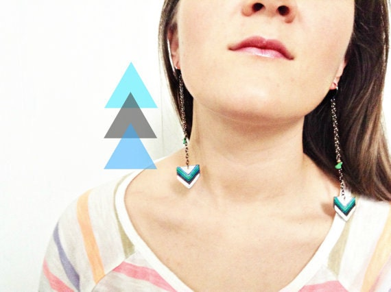 SALE Chevron Earring Collection - Pick Your Pair -  Shrink Plastic, Boho, Hippie, Geometric, Long, Chain, Wearable Art