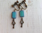Turquoise with Key Charm Clip On Earrings, Skeleton Key Clip on, Dangle Clip Earrings
