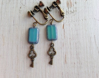 Turquoise with Key Charm Clip On Earrings, Skeleton Key Dangle Clip Earrings, Teal Blue, Screw Back