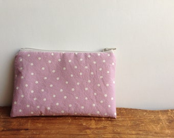 Coin Purse, White Polka Dots on Pink, Small Zipper Pouch, Kawaii Change Purse, Zipper Wallet, Pink Coin Case, Japanese Fabric