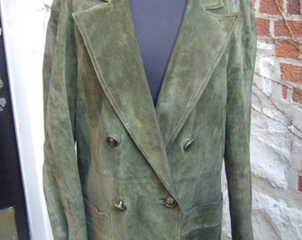 GUCCI Luxurious Moss Green Suede Jacket Size 48 (Genuine)