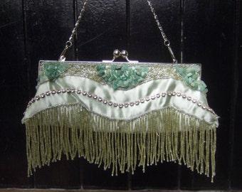 Exotic Beaded Fringe Crystal rock Evening Bag